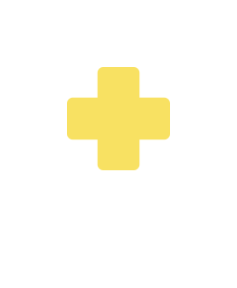 Yellow Red Cross emblem inside teal bubble icon reflects healthcare provider in-office care & prescription enrollment for patients